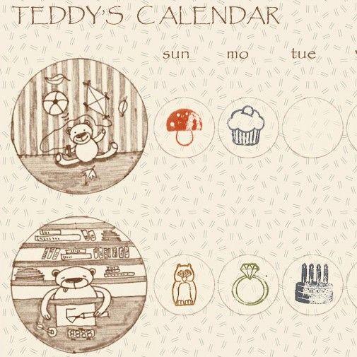 free printable - teddys calendar by pipasik.cz