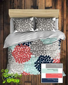 Custom Floral Bedding in Comforter or Duvet style features Best Selling Navy Coral Gray and Aqua Dahlia flower design. King, Queen, or Twin sizes.