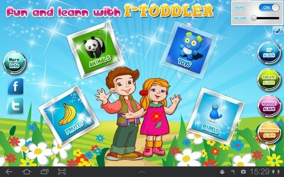 iToddler learning app for kids on tablet.