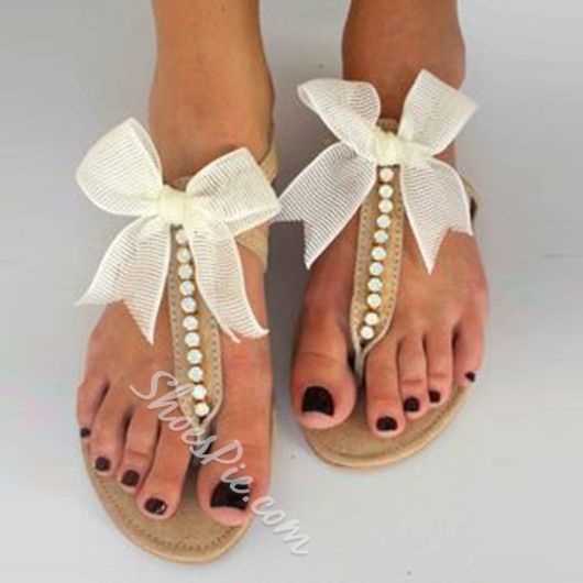 Shoespie White Bow and Beads Thong Flat Sandals