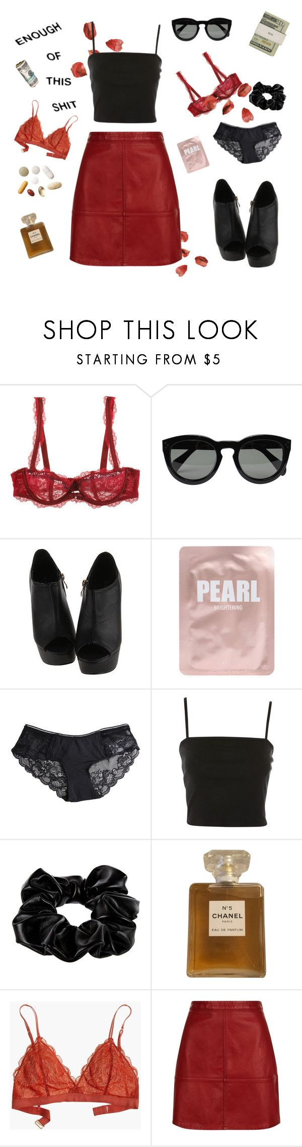 """chanel"" by peachdelrey ❤ liked on Polyvore featuring Chantelle, Jack Spade, CÉLINE, Lapcos, Pieces, Topshop, River Island, Chanel, Madewell and Guide London"