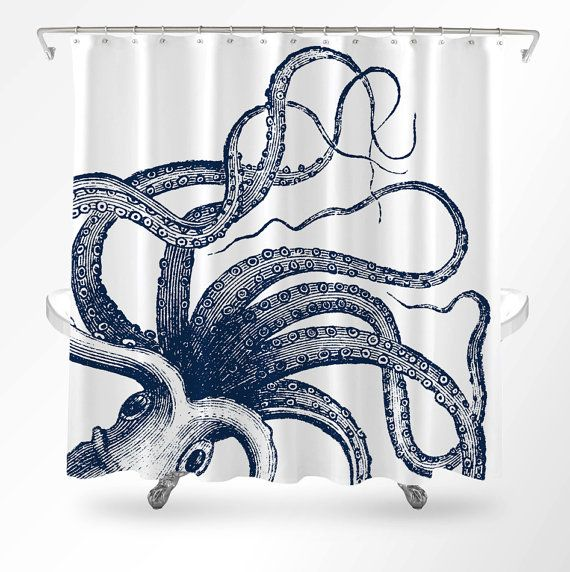 Hey, I found this really awesome Etsy listing at https://www.etsy.com/listing/455268216/octopus-shower-curtain-nautical-shower