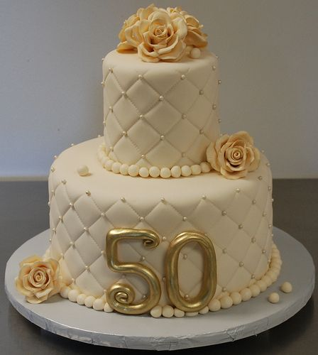 50th Anniversary cake.....love the basketweave and the vintage look! @Jamie Hill