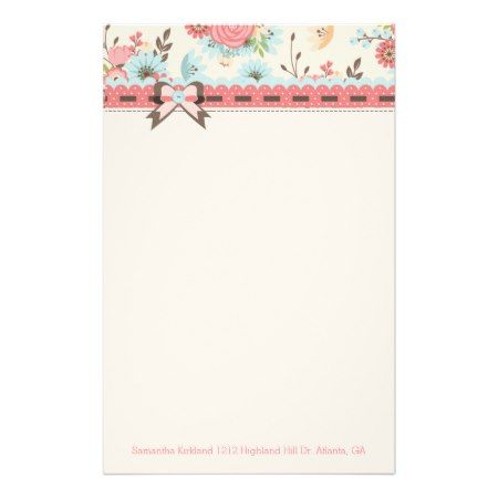 Pretty Floral Header Custom Stationery - click/tap to personalize and buy