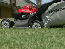 Self-propelled mowers can make the job of mowing easier. Pulleys and gears connect the engine with the wheels making the self-propelled mower easier to push. Self-propelled mowers are either front wheel or rear wheel drive. Front wheel, self-propelled mowers pull the mower forward so you have to have more control over your mower if you want to go in a straight line. Rear wheel mowers are more inclined to go straight.