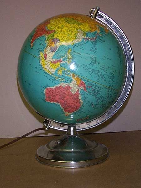 Replogle 10 Inch Library Globe. , Replogle Lighted Glass Globe, Globe  Maker: Replogle