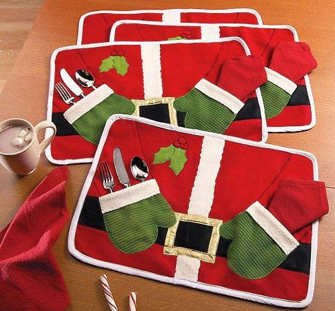 1pc Santa Placemat with Pockets Christmas Decoration Dining Table Knife Fork Restaurant Tableware Mats