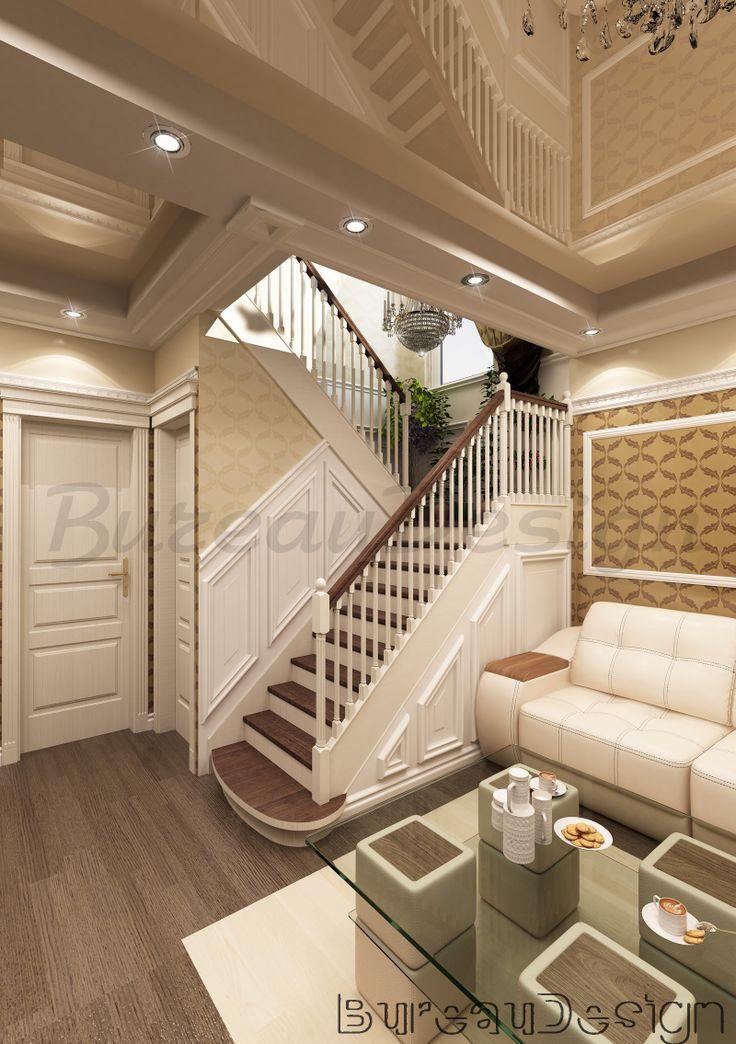 отделка лестницы, деревянные бордюры