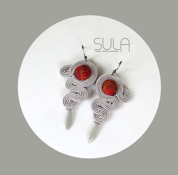 Kolczyki minimalizm szare soutache koral w SulaSutasz na DaWanda.com
