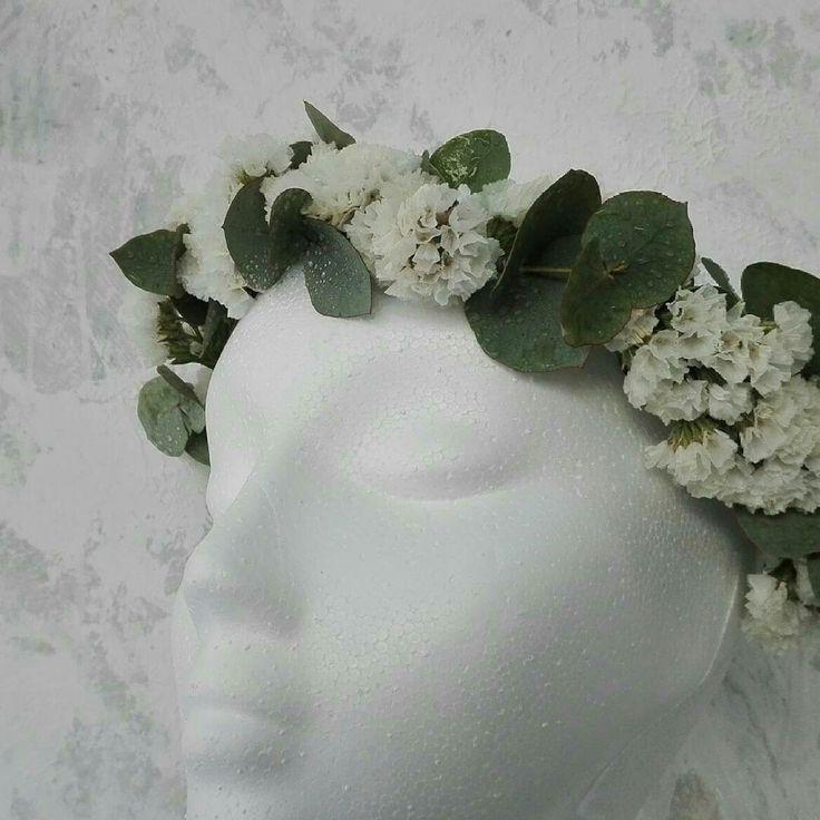 Floral headband flowers eucalyptus