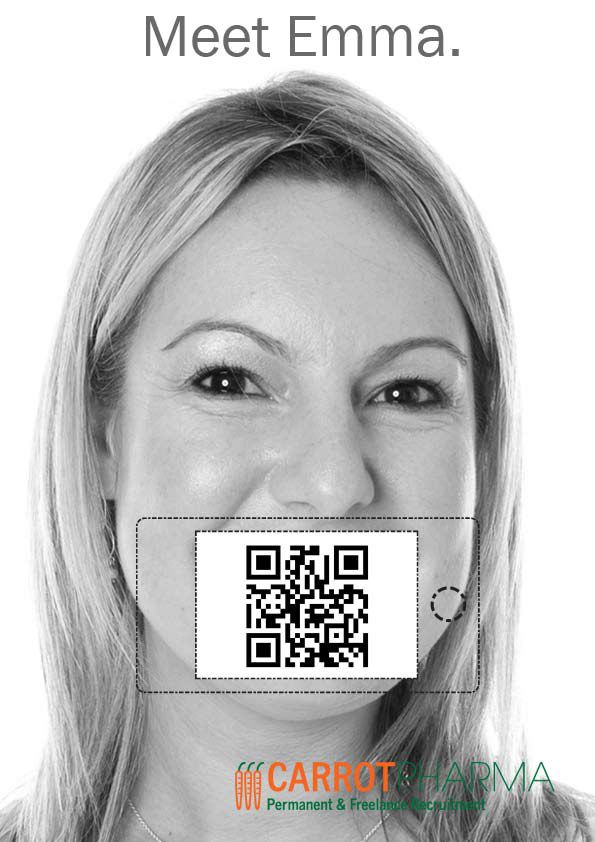 We have used QR codes in our mailers. In this case recipients were invited to scan the code and listen and watch Emma speak about Carrot and her area of expertise. By placing the iphone on the template the recipient could see Emma's mouth moving as she spoke.