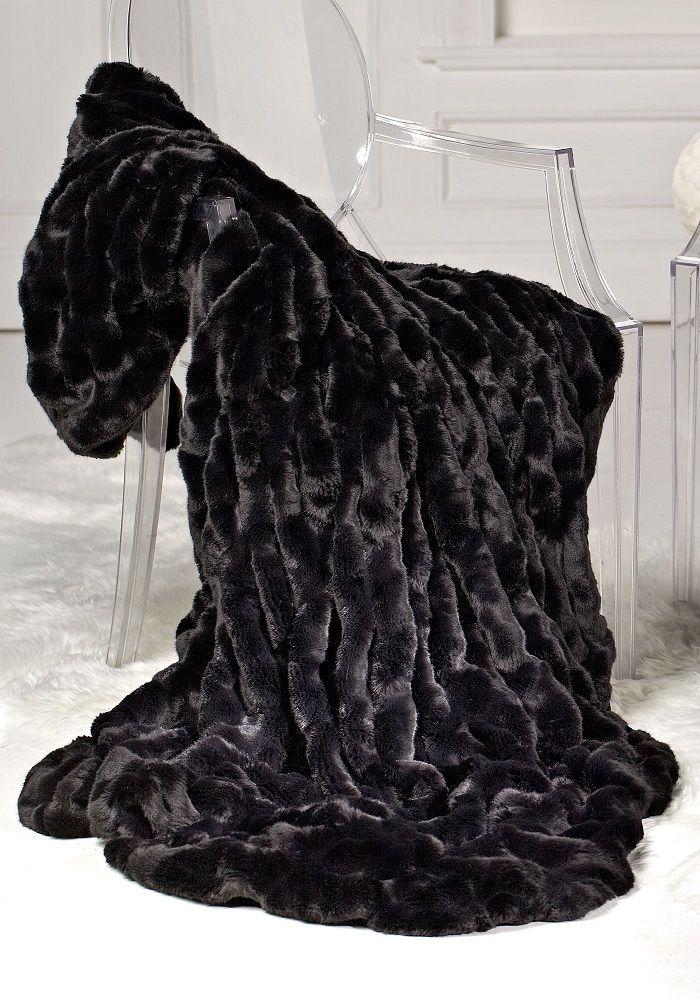 Luxury Fashion Designer Couture Black Mink Faux Fur Throw, Life Like Animal  Fur Blankets,