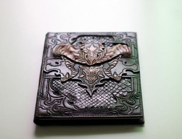 Handmade leather carving diablo design ipad case and