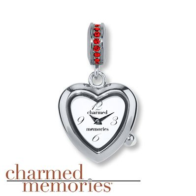 Charmed Memories  Timebeads Heart Charm  Red Crystals