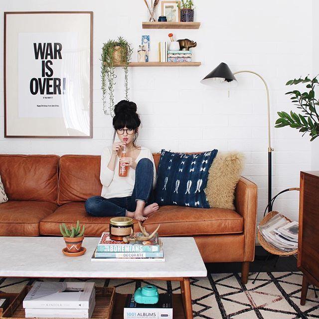 mid century eclectic boho living room decor ideas