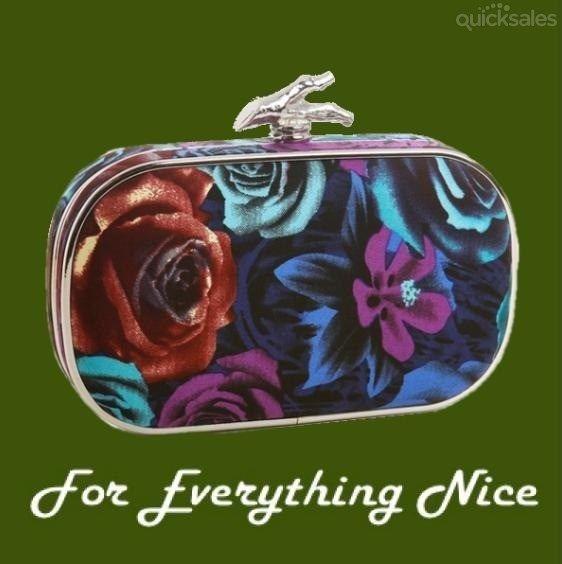 Floral Print Matte Satin Oval Avante Garde Minaudiere Evening Bag Bridal Purse by JRMB7339 - $99.00