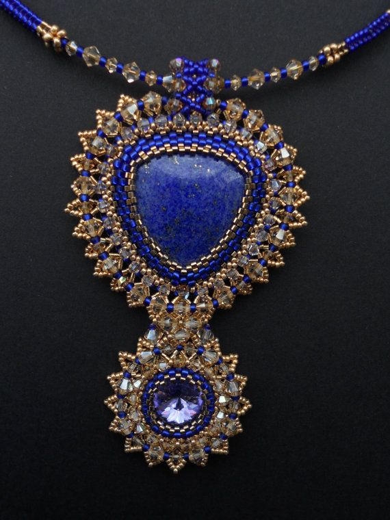 Swarovski+crystals+and+Lapis+lazuli+pendant.+by+AfinaBeads+on+Etsy,+€140.00