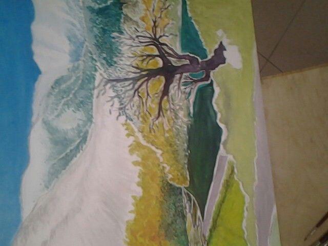 Dipinto; paesaggio  di   montagna