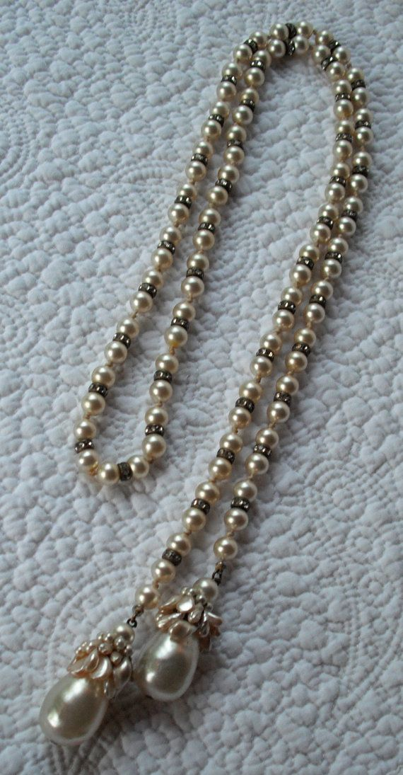 SALE Miriam Haskell Pearl Landyard Necklace 1940's by kellimay, $100.00