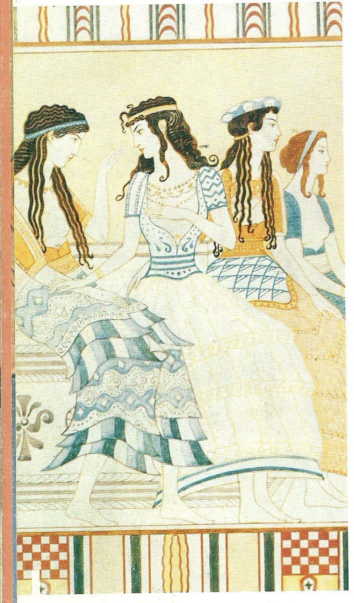 Las mujeres llevaba un delantal , que en la parte de abajo caia a modo de falda con volantes o de capas,aveces presentaba  bordados o motivos decorativos de colores.con una cintura ceñida.