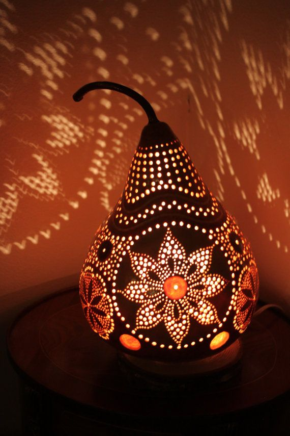 Gourd Lamp 8 Unique handmade carved and drilled by YourWorldOfArt