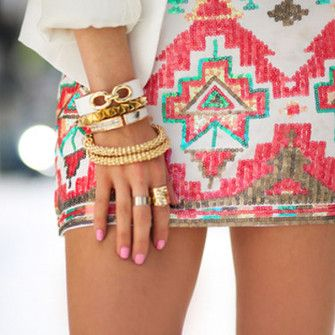 glitter dress white aztec skirt aztec pink jewels indian tribal neon pretty girly design cute nice mini skirt bright tribal print tribal pattern skirt glitter