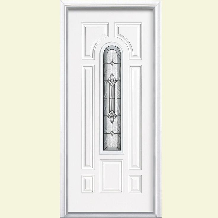 Masonite 36 in. x 80 in. Providence Center Arch Painted Steel Prehung Front Door with Brickmold