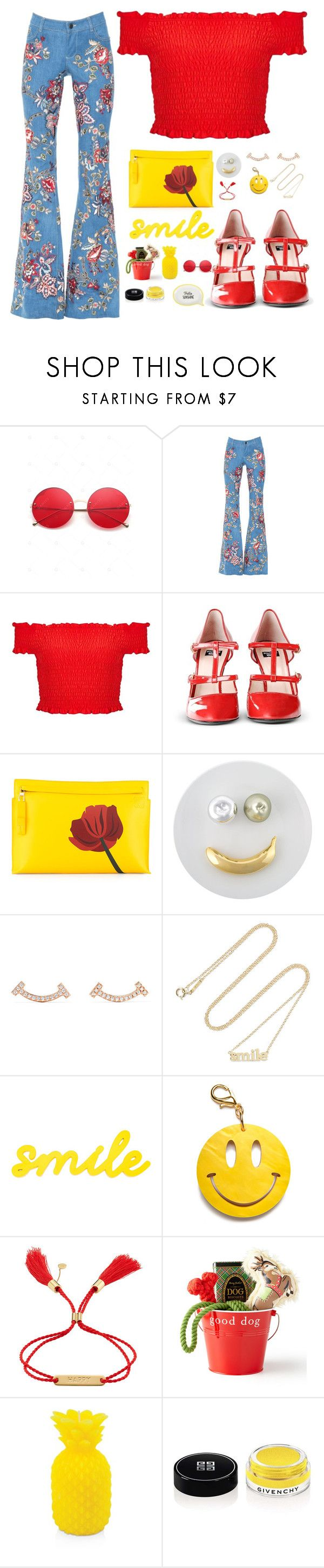 """""""Happy"""" by maria-canas ❤ liked on Polyvore featuring Miss Selfridge, Boutique Moschino, Loewe, Pols Potten, Jennifer Meyer Jewelry, Edie Parker, Chloé, Harry Barker, Sunnylife and Givenchy"""