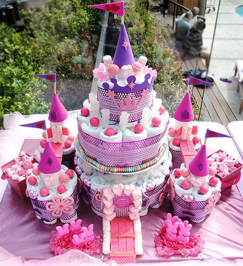 Pastel Princesa Castillo de pañales para Baby Shower                                                                                                                                                                                 Más