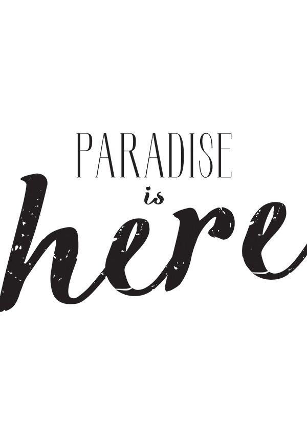 affiche minimaliste paradise is here produit num rique affiche illustrations et affiches. Black Bedroom Furniture Sets. Home Design Ideas