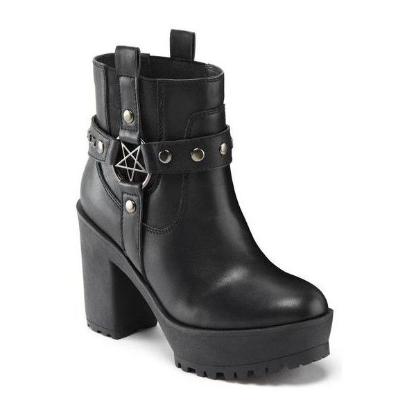 Shop Goth Shoes & Boots ❤ liked on Polyvore featuring shoes, boots, ankle booties, flat heel boots, flats boots, flat pumps, platform boots and goth platform boots