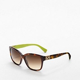 Coach Cortney Sunglasses in tortise and lime green