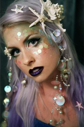 Pretty, Shimmery Mermaid Costume Makeup loved by http://makeupartistrycairns.com.au