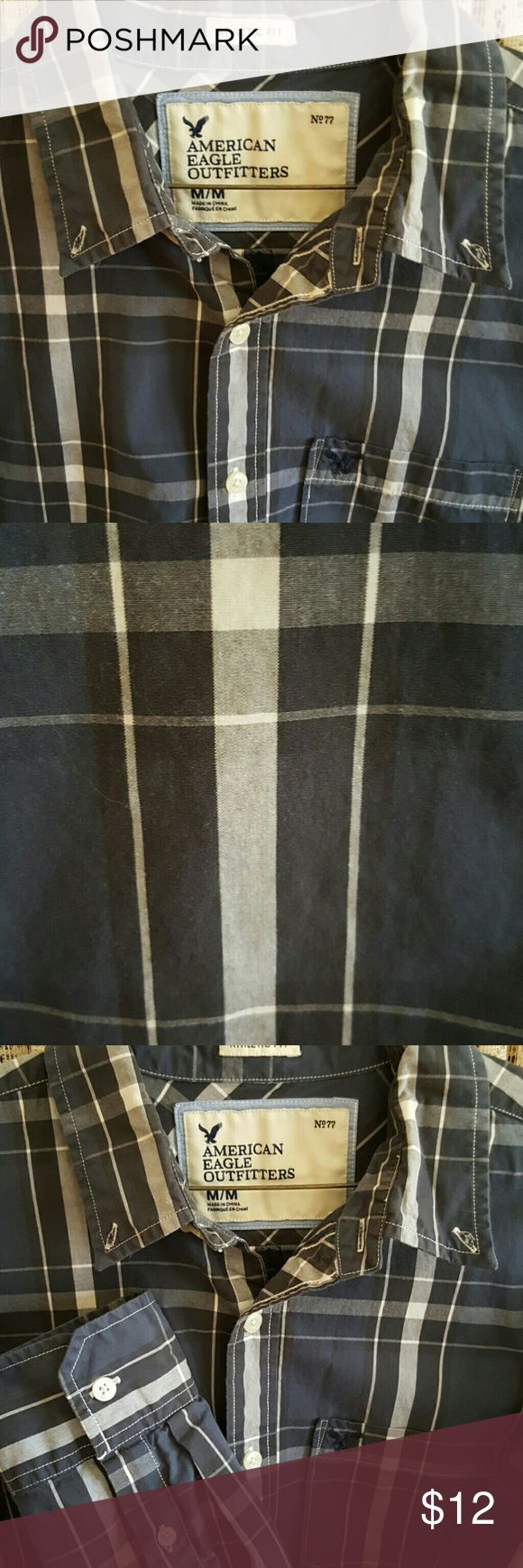 American Eagle Shirt American Eagle long sleeve button down shirt,  one front pocket, size medium, blue, gray and white colors, athletic fit. American Eagle Outfitters Shirts Casual Button Down Shirts