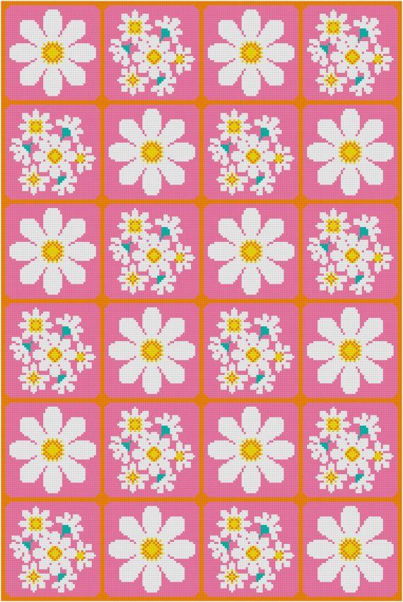 Cross Stitch Pattern, 'Daisies' PDF