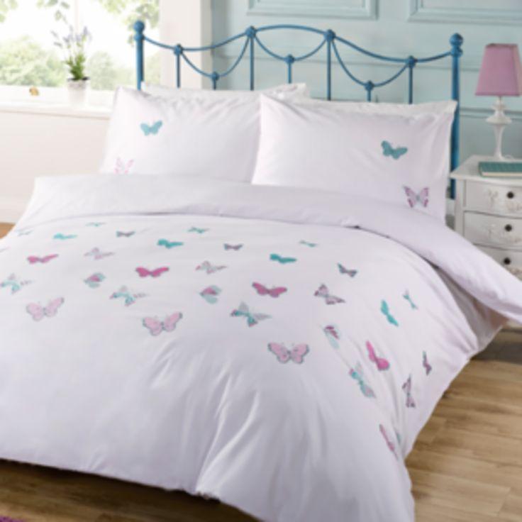Garden Butterfly White Duvet Cover and Pillowcase Set