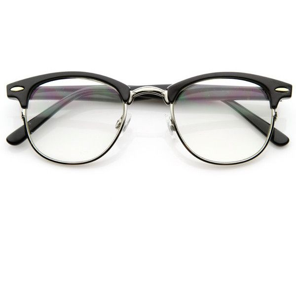 Vintage Optical RX Clear Lens Clubmaster Wayfarer Glasses 2946 49mm (€10) ❤ liked on Polyvore featuring accessories, eyewear, eyeglasses, glasses, sunglasses, fillers, half frame wayfarer sunglasses, clear lens wayfarer, clear wayfarer glasses and clear eyeglasses
