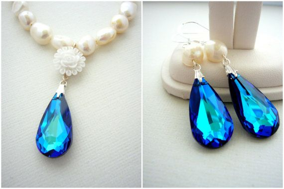Peacock Wedding Necklace and Earring Set, Bermuda Blue Swarovski Crystal, Ivory Freshwater Pearls, Off White Bridal Jewelry Set, Flower