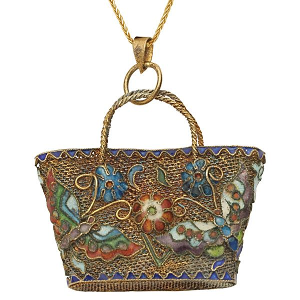 Don't Forget Your Bag! A Jewel of a Cloisonne Bag Pendant. Cute and Captivating!