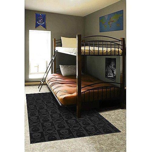 Bedroom Carpet Target Bedroom For Boy Black And White Bedroom Prints Yellow Bedroom Design Ideas: New Black & Grey Pirate Skulls & Crossbones Area Rug Boys