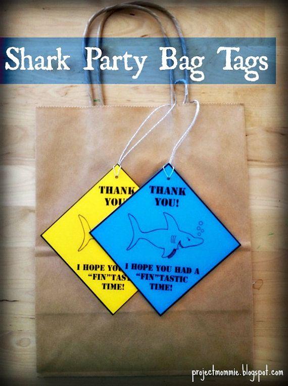 "PDF Shark Party Favor Bag Tags 4""x4"" - Printable, Instant Download"