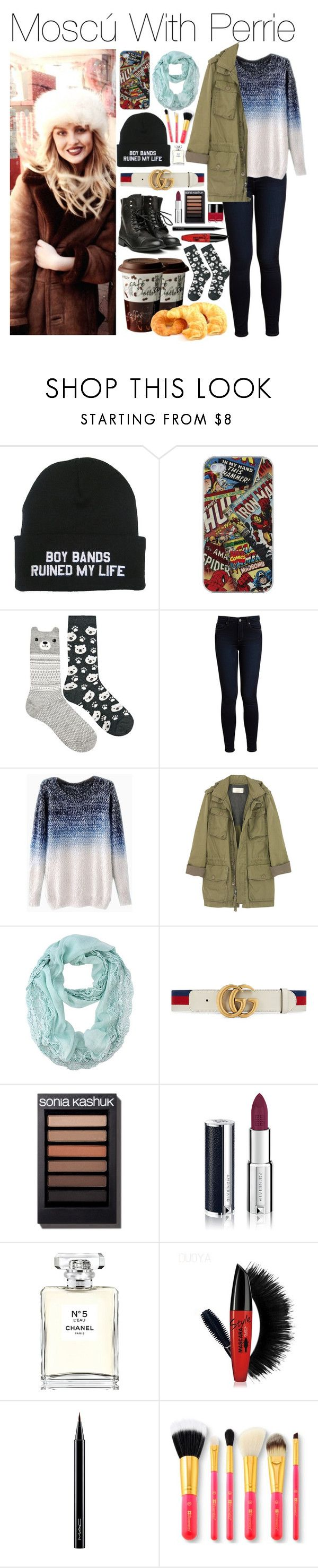 """""""Moscú With Perrie"""" by lovingharryandjustin ❤ liked on Polyvore featuring Marvel Comics, Oysho, Paige Denim, J.Crew, Gucci, Givenchy, Chanel, MAC Cosmetics, Winter and perrie"""