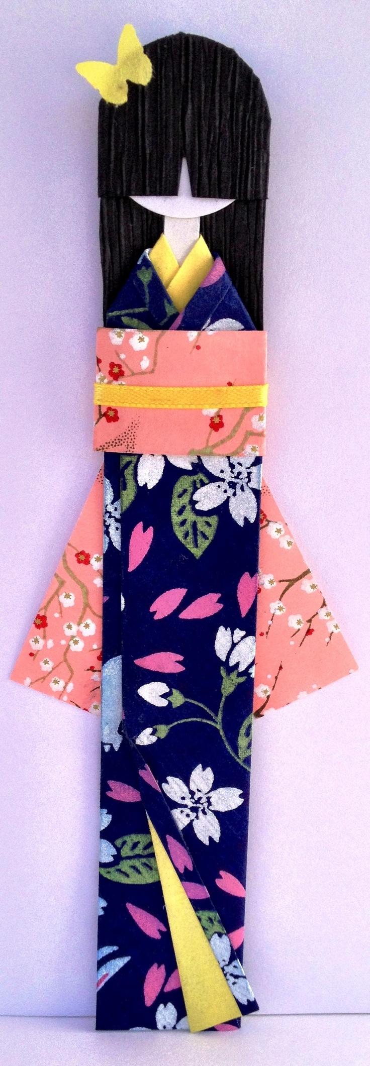 Tsukiko (Moon Child) Japanese Washi Paper Bookmark Doll.