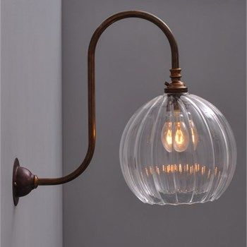 Swan Neck Wall Light With Hereford Ribbed Globe Shade Mounted Bedside Lights