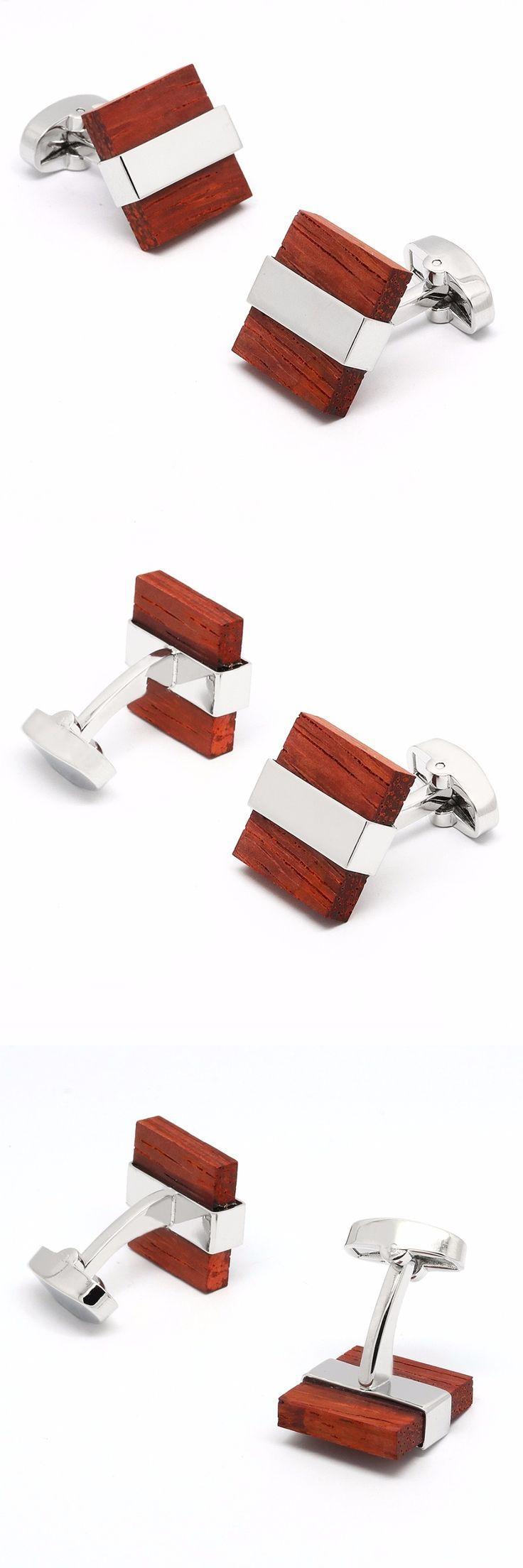 Wood Cufflinks Fashion Copper Cufflink Brand Men Shirt Cuff Links Wedding Groom Gift