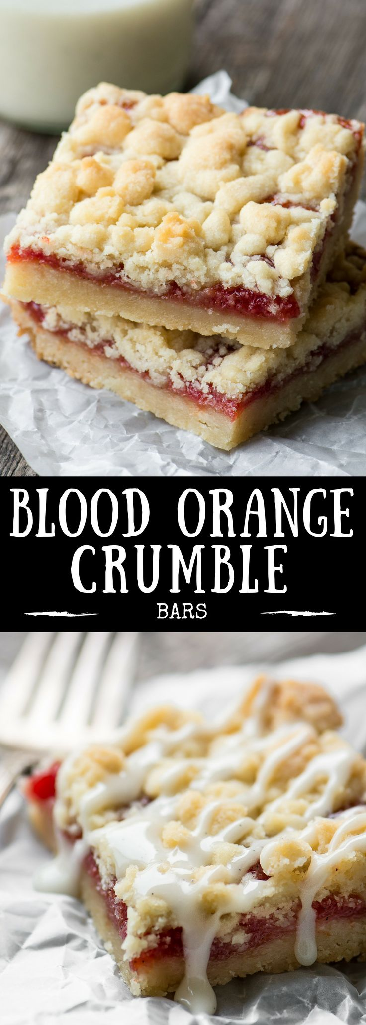 I'm squeezing every last delicious drop out of blood orange season with these Blood Orange Crumble Bars ~ the sweet tart filling is layered into a buttery shortbread crumble dough and what comes out of the oven is nothing short of awesome. |breakfast | dessert | citrus | Jam