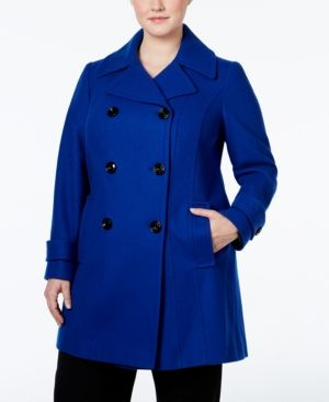 Anne Klein Plus Size Double-Breasted Peacoat, Only at Macy's - Blue 3X