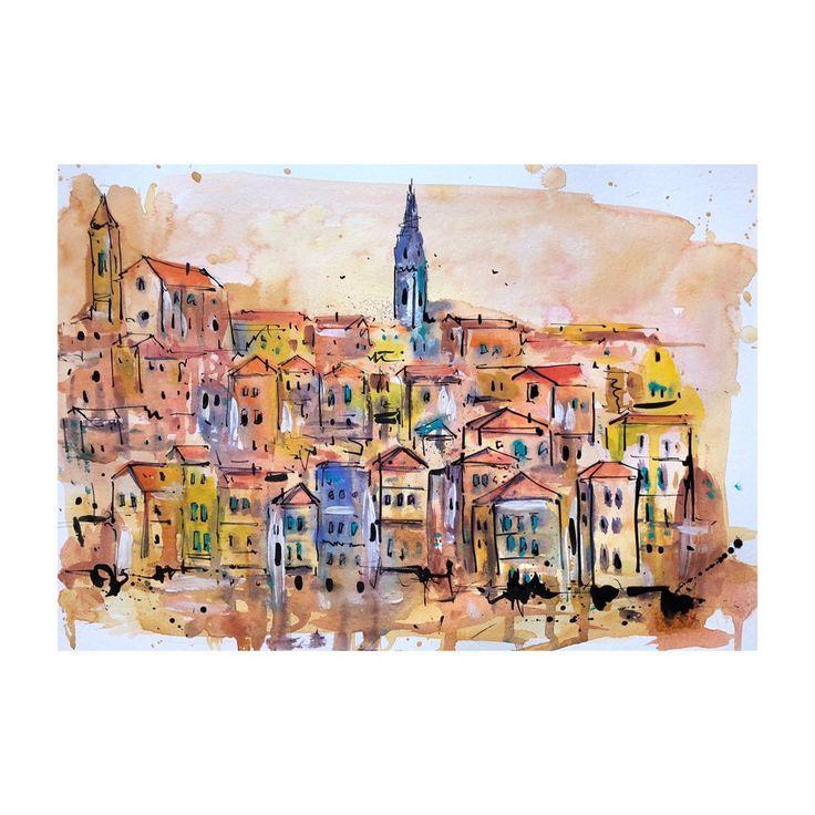 Porto-Aquarell, Stadtlandschaft, Venedig-Malerei, Stadtbildkunst, Aquarellmalerei, ursprüngli…