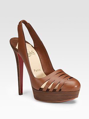 Louboutin Laser Cut Leather Slingbacks