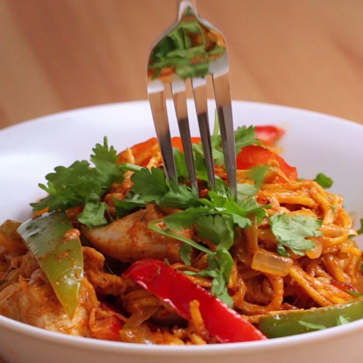 Cheesy Chicken Fajita Spaghetti
